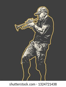 Street Musician Plays On The Trumpet. Hand Drawn Character. Engraving Style. Vector Illustration