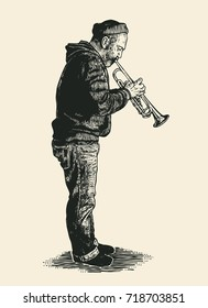 A street musician plays on the trumpet. Hand Drawn Character. Engraving Style. Vector Illustration