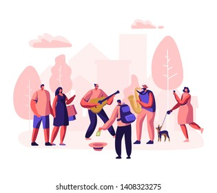 Street Musicians Perform Outdoor Show. Guitarist and Saxophonist Playing Music in Park, People Watching Concert, Put Money in Hat, Photographing Musical Performance. Cartoon Flat Vector Illustration