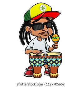 Street Musicians Playing Reggae Music with Maracas and Djembe Drums Cartoon Vector