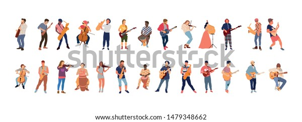 Street musicians set. All music instruments in one set. Flat isolated illustration - Vector