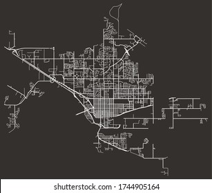 Street network map of Grand Junction, Colorado, United States, downtown plan blueprint with roads and lanes and highways, suburbs, town city poster