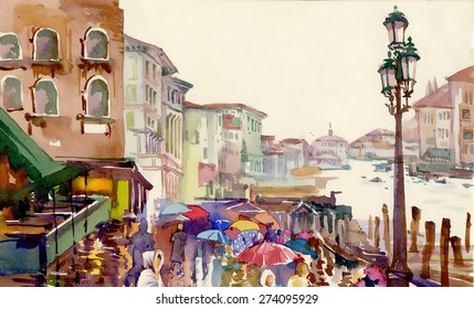 Street of Old autumn city made in watercolor style vector illustration