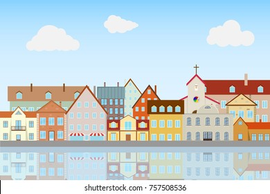 Street of the old city, embankment. Houses are reflected in the water. Flat design, vector illustration, vector.