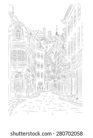 Street in the old town. Hand drawn vector illustration