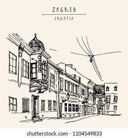 Street in old town. Zagreb, Croatia, Europe. Vintage hand drawn postcard. Vector illustration