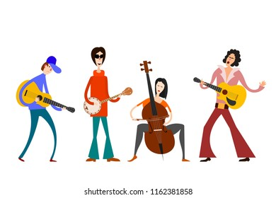 Street Orchestra. Figures of musicians with musical instruments on a white background. Vector illustration of a street band in the style of Cartoon