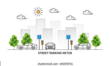 Street parking meter vector illustration. Cars and parking meters with solar panels line art concept. Urban (city) landscape with traffic signs and cars graphic design.