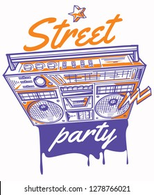Street party poster with drawn color boom box and graffiti arrows