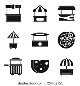 Street pavilion icons set. Simple set of 9 street pavilion vector icons for web isolated on white background