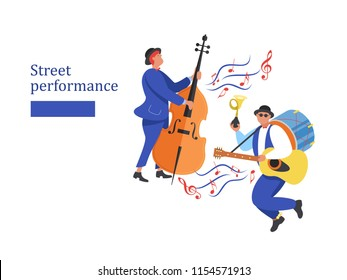 Street performance. Street musician. The set of characters of street musicians. Man band, man playing the double bass. Vector illustration.
