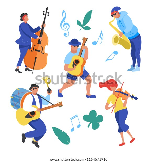 Street performance. Street musician. The set of characters of street musicians. Man band, a girl playing the violin, a guy saxophonist, guitarist, a man playing the double bass. Vector illustration.