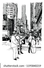 Street performers playing music at 5th Avenue in New York City - vector illustration