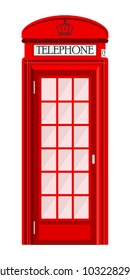 Street phone booth isolated on white background. Typical telephone box. Vector illustration, EPS10.
