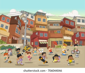 Street of poor neighborhood with cartoon children playing. Sports and toys. Slum. Favela.