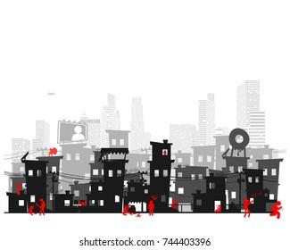 Street of poor neighborhood in the city. Slum