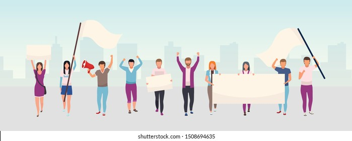 Street protest action flat illustration. Protestors, social movement activists holding blank banners, placard cartoon characters. Political demonstration, human rights protection city picket concept