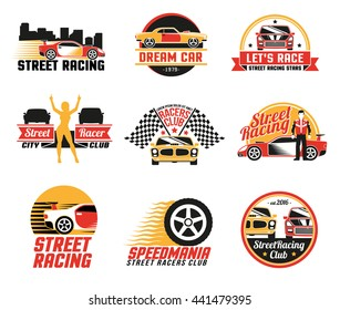 Street racing clubs labels emblems collection with dream car golden girl figure and checkered flags isolated vector illustration