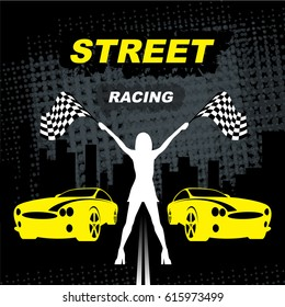 Street Racing. Sport girl with starting the checkered flag. Auto Motor Racing