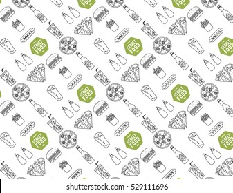 STREET OR RESTAURANT FOOD PATTERNED PAPER. Vector illustration file. Use for branding projects, prints, packaging etc.