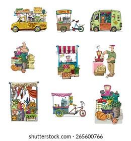 street retail and market set - cartoon