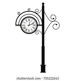 Street Retro Clock on Pole. Vintage antique clock, clock face vector. Illustration of street element with curls decoration