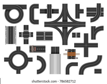 Street road elements. Urban areas roads, straight street sections, rains, kerbs and pavement exterior scene. Vector flat style cartoon illustration isolated on white background