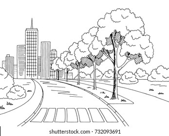 Street road graphic black white city landscape sketch illustration vector