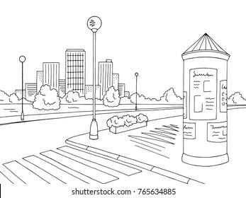 Street road graphic black white billboard city landscape sketch illustration vector