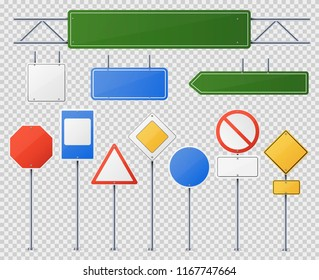Street and road sign set. Warning and safety elements to provide instructions or information for drivers and pedestrians. Vector realistic road signs illustration isolated from background