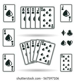 Street or Royal Flush, combination of game cards in poker game from aces to ten, different suits isolated on white background, vector