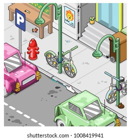 Street scene with city architecture. Cars parking on curb, bikes locked to lamps (vector illustration)