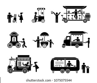 Street sellers and market stalls presented as pictograms. Fast food stands. Collection of vector illustrations of various movable stalls and kiosk for use in public places and amusement park.