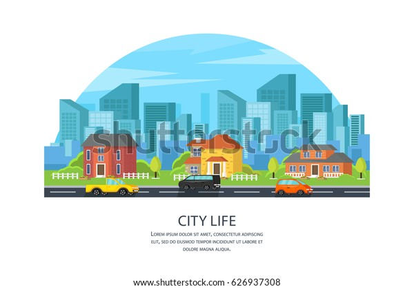 Street with a set of colorful houses and cars. A city with streets and roads and traffic. City life. In a modern orthogonal style. Vector illustration