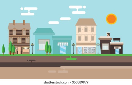 street shop building flat illustration town street old vintage mall store