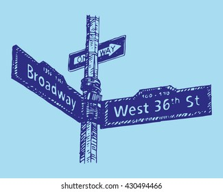Street sign on the corner of Broadway and West 36th Street in Manhattan, New York City, USA. Sketch by hand. Vector illustration. Engraving style