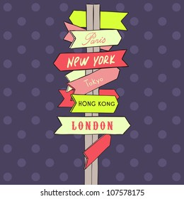 street sign showing cities - new york london paris rome moscow