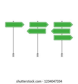 Street sign template with place for text. Blank road signs isolated on white background. Green arrow signposts in realistic style. Vector illustration EPS 10.