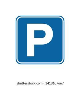 Street Signage, Road Sign Parking Area Illustration Design. Vector EPS 10. - Vector