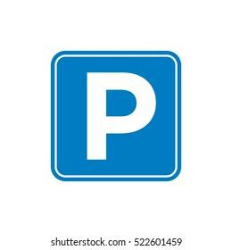 Street Signage,  Road Sign Parking Area Illustration Design. Vector EPS 10.