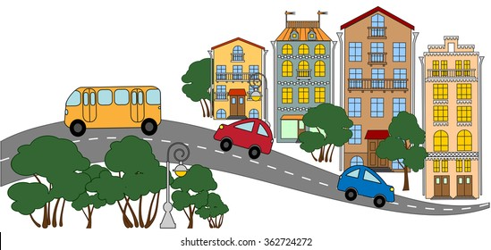 The street of a small town. Vector illustration