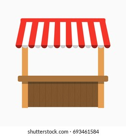 Street stall with awning. Kiosk with wooden rack. Vector illustration.