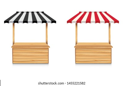 Street stall with black awning and red awning on white background. Wooden market stall.