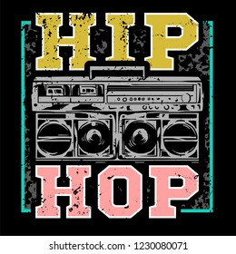 Street style colorful print with big boombox for hip hop or rap music type. For fashion design print on clothes t shirt bomber cover  single sweatshirt also for sticker poster patch. Underground style