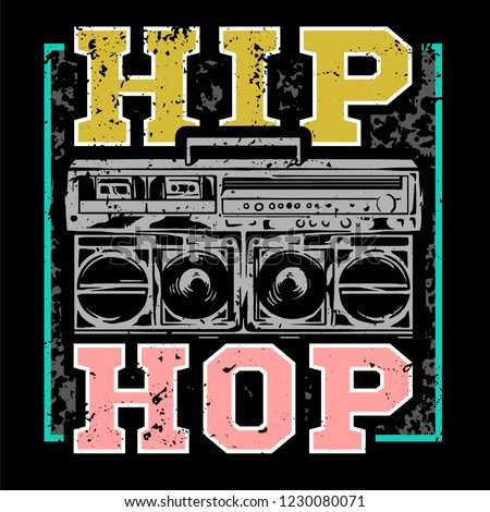 Street style colorful print with big boombox for hip hop or rap music type.  For