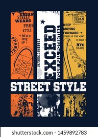 Street style illustration for t-shirt.