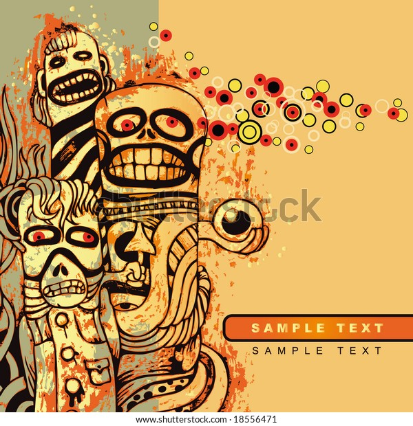 street style vector grunge background with  halloween person, for CD cover