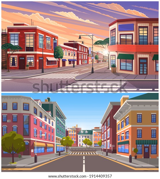 Street of town day and evening time lighting, historic urban area with trees and streetlights. Cityscape with vintage brick buildings, road with crosswalk and pedestrian walkway cartoon illustration