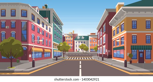 Street of town vector, city with path and roads, pedestrian crossings and zebra, trees and plants on street decorating exteriors of houses cityscape. Empty downtown road