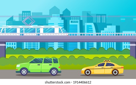 Street traffic, green car and taxi ride along the road, bushes and bushes under the bridge. Ground metro, moving train. Houses, skyscrapers, buildings on background. Flat vector illustartion of city